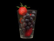 canvas print picture - Erdbeere und Himbeere feuchtes glas