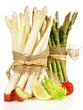 Leinwandbild Motiv Green and White Asparagus Bundles with Strawberry and Rhubarb