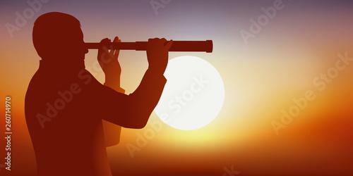 HOMME LONGUE VUE - Soleil silhouette - 260714970