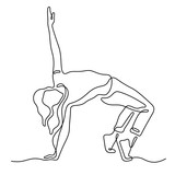 Young woman dancing hip hop continuous line vector sketch