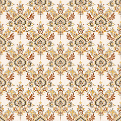 Seamless background baroque style. Vintage Pattern. Retro Victorian. Ornament in Damascus style. Elements of flowers, leaves. Vector illustration. Wallpaper, print packaging, textiles.