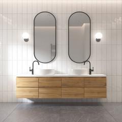 3d rendering of a modern minimal white bathroom