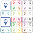 GPS map location details outlined flat color icons