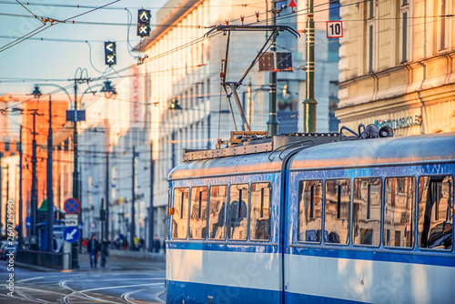17/02/2019 Krakow, Poland, the city's blue trams are moving in the center of the old city