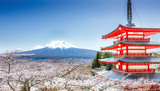 Chureito Pagoda and Mt. Fuji in the spring with cherry blossoms.
