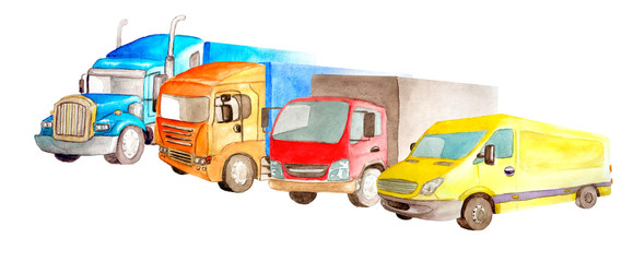 Watercolor park of trucks, lorries, van of different colors, truck models and designs stand side by side on a white background isolated © Анна Лукина