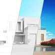 canvas print picture - Planung modernes Haus mit CAD Skizze und Rendering