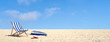 Leinwanddruck Bild - Urlaub im Sommer am Strand im Liegestuhl