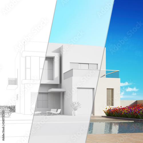 Planung modernes Haus mit CAD Skizze und Rendering © Robert Kneschke