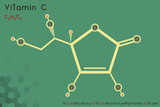 Large and detailed infographic of the molecule of Vitamin C.