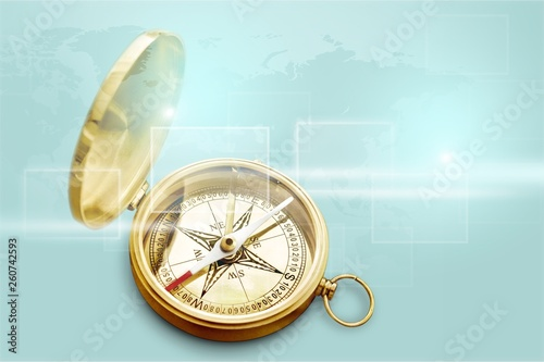 Leinwandbild Motiv Brass antique compass  on background