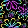 Daisy Spring Flower Psycnedelic Neon Light Vector Seamless Pattern Design  - 260751752