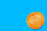 Single fresh whole delicious orange mandarin on blue background with copy space for your text. Concept of food or celebration