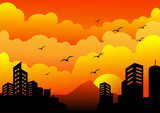 sunset in the city silhouette background