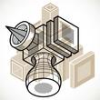 Abstract trigonometric construction, vector dimensional design template. - 260771578