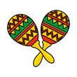 mexican maracas isolated icon