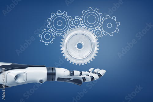 3d rendering of a robot hand with its palm open and ready to catch a light-grey metal cogwheel and unfilled cogwheels of various shapes. © gearstd