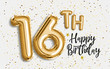 Happy 16th birthday gold foil balloon greeting background. 16 years anniversary logo template- 16th celebrating with confetti. Photo stock.