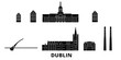 Irland, Dublin flat travel skyline set. Irland, Dublin black city vector panorama, illustration, travel sights, landmarks, streets. - 260785398