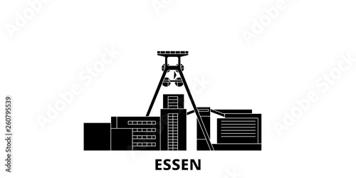 Germany, Essen, Zollverein Coal Mine Industrial Complex flat travel skyline set. Germany, Essen, Zollverein Coal Mine Industrial Complex black city vector panorama, illustration, travel sights © iconsgraph