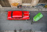 Old car on street from above