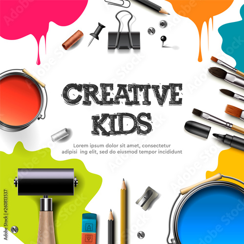 Kids art craft, education, creativity class concept. Banner or poster with white square paper background, hand drawn letters, pencil, brush, paints. Vector illustration. - 260813537