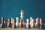 chess on board on dark background