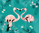 Frame with flamingo, leaves and flowers. Summer illustration.