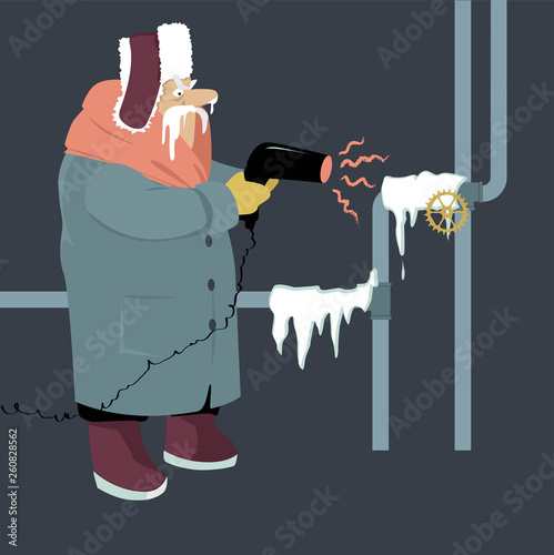 Senior man attempting to thaw frozen pipes with a blow dryer, EPS 8