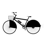 Bicycle with basket, sound horn and protection on the wheel - vector illustration
