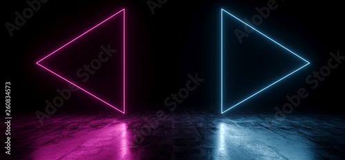 Elegant Triangle Play Buttons Arrows Shaped Neon Fluorescent Retro Laser Led Show Stage Vibrant Blue Purple Glowing Lights In Underground Hall Grunge Concrete Glossy Cement Garage 3D Rendering