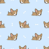 Cute chihuahua puppy sleeping with bone seamless pattern, vector illustration