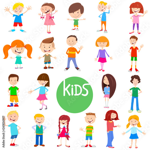 cartoon kid characters large set - 260836907