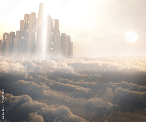concept art of sunset in the sky city of gods  - 260839142