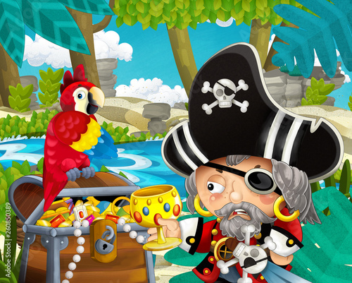 cartoon scene with pirate and treasure and parrot in the jungle - illustration for children - 260850389