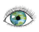 Human eye with colored eyeball  illustration isolated on white background