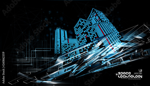 Technology city, vector - 260862359
