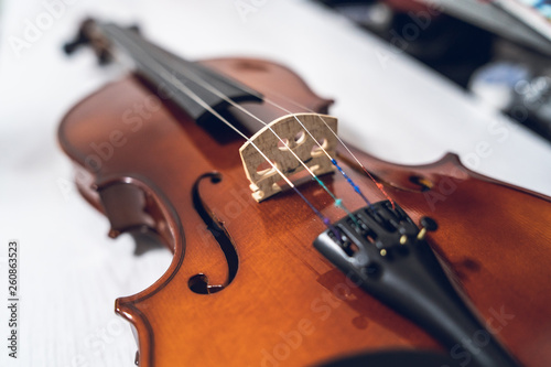 Close up on the violin musical instrument - 260863523