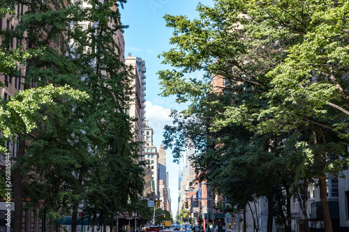 View of Lexington Avenue from Gramercy Park in Manhattan New York City © deberarr