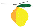 Yellow lemon with leafillustration vector on white background