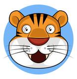 Happy cartoon tiger vector illustration on white background
