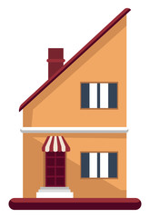 Cartoon orange building with red roof vector illustartion on white background
