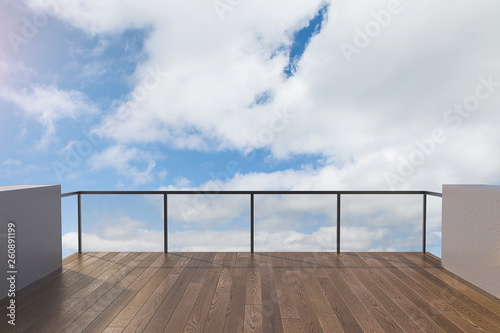 Balcony view of  sky. Landscape. Sunny Day. Terrace with a beautiful view on the sky. Background with beautiful cloud's.