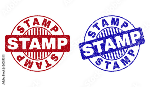 Grunge STAMP round stamp seals isolated on a white background. Round seals with distress texture in red and blue colors. Vector rubber watermark of STAMP label inside circle form with stripes.