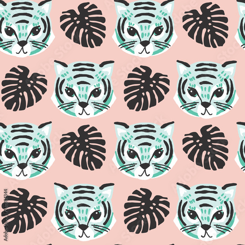 vector seamless pattern of mint green tiger faces with black monstera leaves on a blush pink background