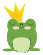 A green king frog wearing a golden crown on head is day dreaming vector color drawing or illustration