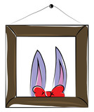 A photo frame hanged in wall showcasing two bunny ears and a red bow vector color drawing or illustration