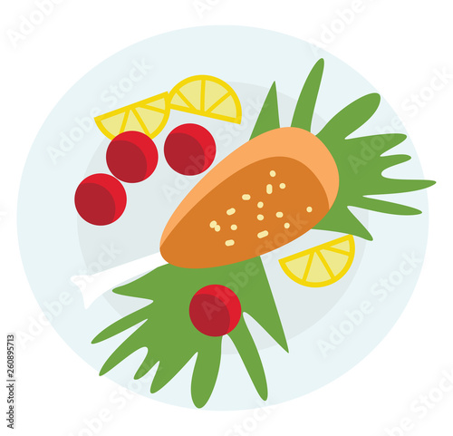 A lavish food platter of greens and healthy brown toasts vector color drawing or illustration - 260895713