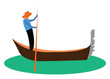 A man propelling a small narrow boat known as gondola vector color drawing or illustration