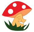 A beautiful mushroom smiling wearing a red and white cap grown above the grassland vector color drawing or illustration